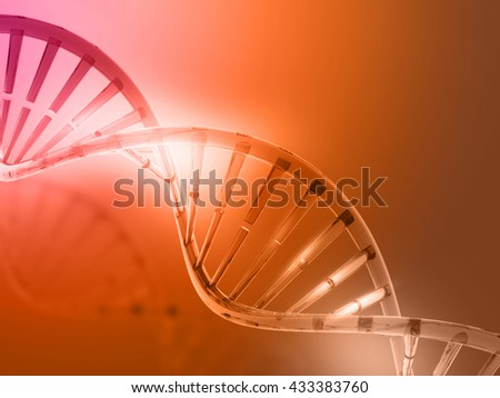 3d render of  DNA structure on red background 	 - stock photo