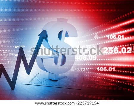 3d render of dollar sign with arrow up - stock photo