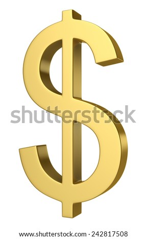 3d render of dollar symbol isolated over white background - stock photo