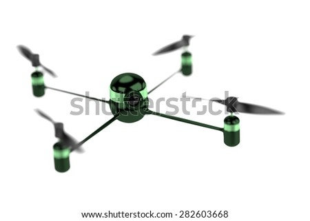 3d render of Drone with Camera - stock photo