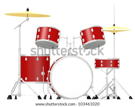3d render of drum set - stock photo