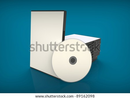 3d render of  DVD with boxes on a blue background
