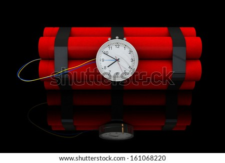 3d render of dynamite stick with clockwork - stock photo