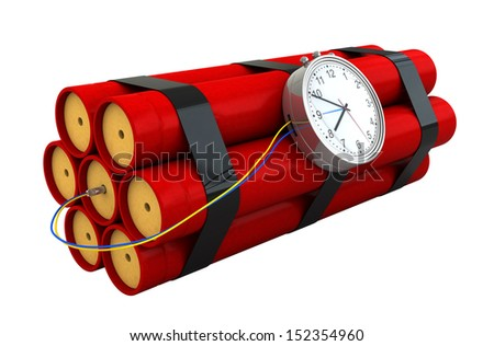 3d render of dynamite sticks idolated over white background - stock photo
