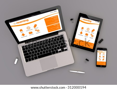 3d render of e-learning platform responsive devices with laptop computer, tablet pc and touchscreen smartphone. Zenith view. All screen graphics are made up. - stock photo