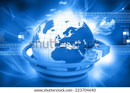 3d render of earth and Network cable tech background	 - stock photo