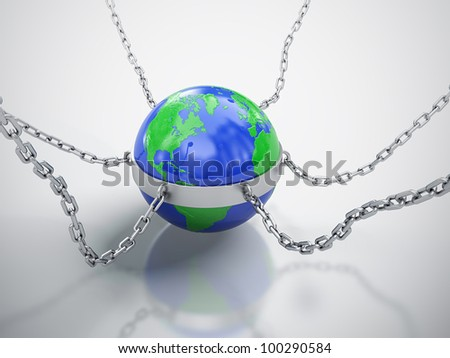 3D render of Earth in chains isolated on white background. - stock photo