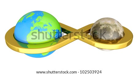 3D render of Earth linked with Moon isolated on white background - stock photo