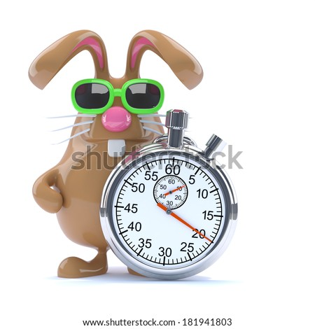 3d render of Easter bunny with stopwatch