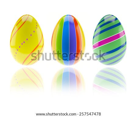 3d render of Easter eggs isolated on white background