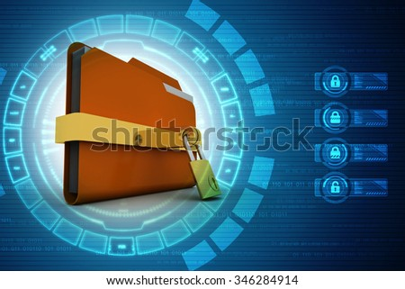 3d render of email symbol with lock - stock photo