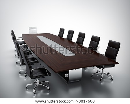 3d render of empty conference room. - stock photo