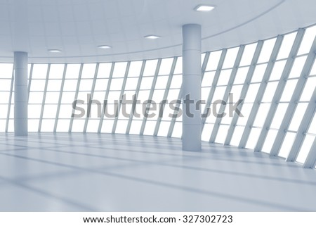 3D Render of Empty contemporary business center hall