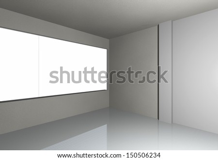 3D render of empty room - stock photo