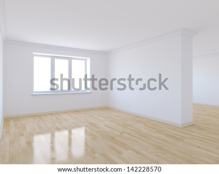 3d render of empty room with wooden floor - stock photo
