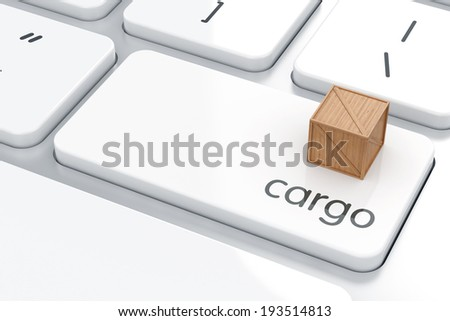 3d render of Enter button with cargo container. Cargo shipping concept