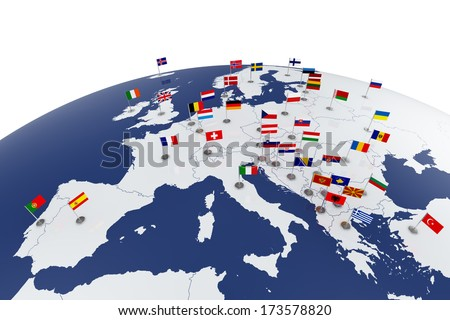 3d render of Europe map with countries flags - stock photo