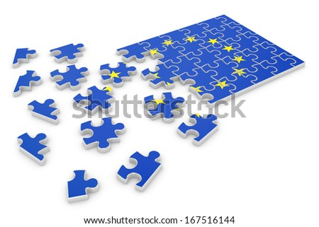 3d render of Europe puzzle flag isolated on white background