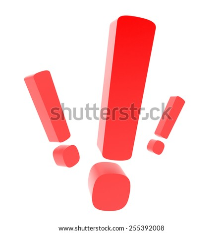 3d render of exclamation mark on white background - stock photo