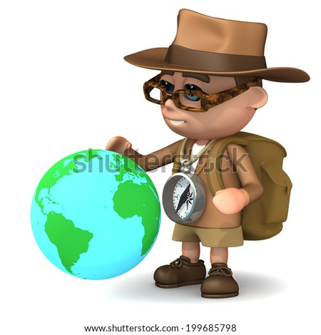 3d render of Explorer kid with globe of the Earth