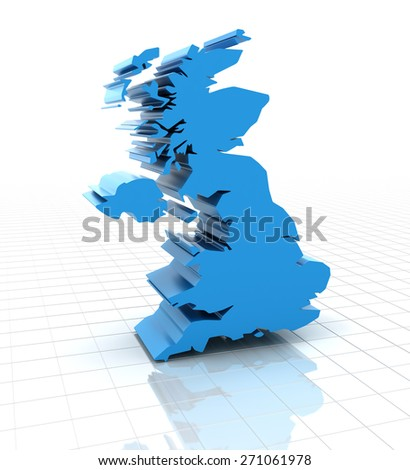 3d render of extruded United Kingdom UK map, white background - stock photo