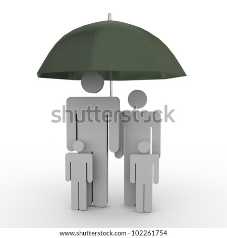 3d render of family under umbrella. - stock photo