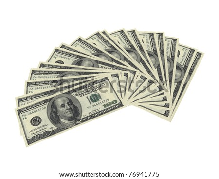 3d render of fanned dollar notes on white background - stock photo