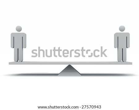 3d render of 2 figurines on a seesaw - stock photo