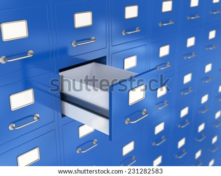 3d render of file drawer with one opened. Storage concept
