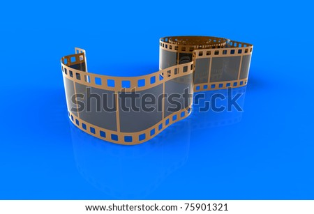 3d render of  film on a dark blue background - stock photo