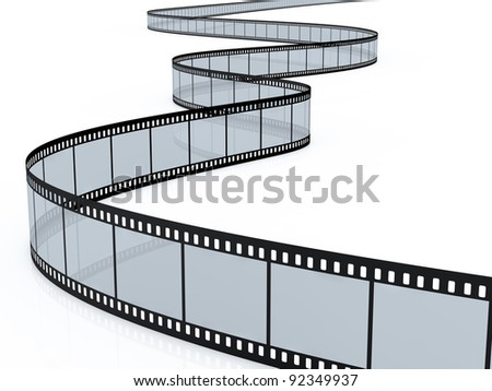 3d render of film strip on white background - stock photo