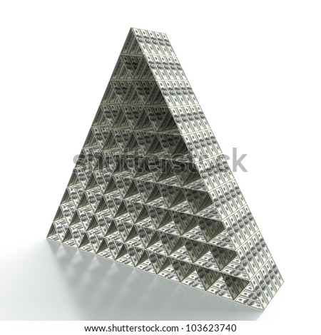 3D render of financial pyramid on white background - stock photo