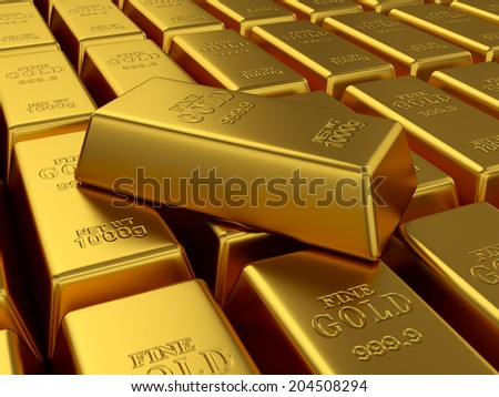 3d render of fine gold bars background. Treasure concept - stock photo