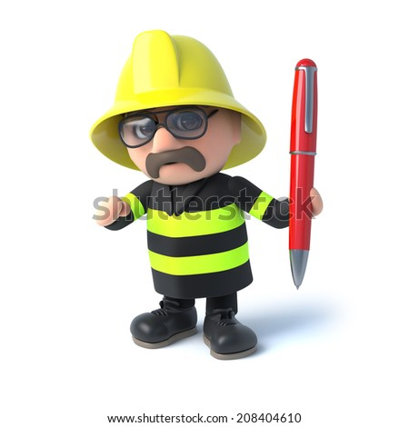 3d render of firefighter holding a pen - stock photo