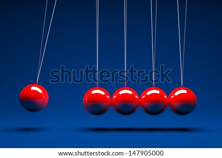 3d render of five red balancing balls  - stock photo