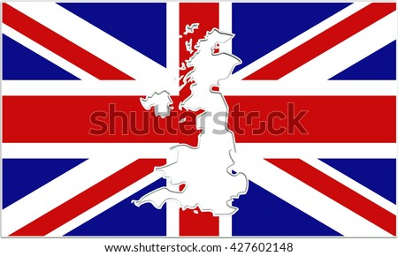 3D render of flag of a modern-day European country of Great Britain (United Kingdom / UK), with territory map cut out from the middle of the flag, isolated on white background. - stock photo