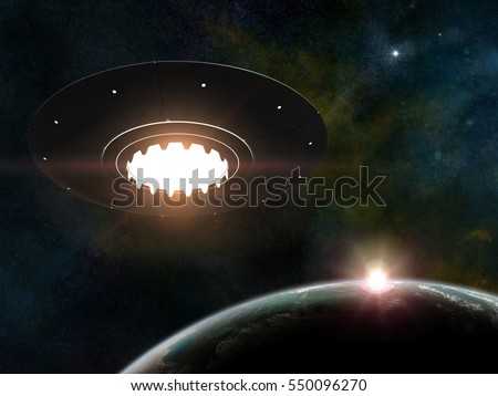 3d render of flying saucer over stars background and planet