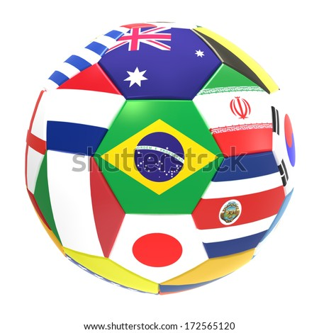 3D render of football with flags, representing all countries participating in football world cup in Brazil in 2014 - stock photo