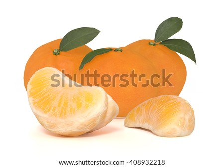 3d render of fresh ripe oranges with leaves  - stock photo