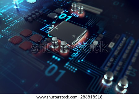 3d render of futuristic blue circuit board  - stock photo