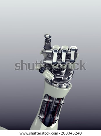 3d render of futuristic robot arm and hand gesture with clipping mask   - stock photo