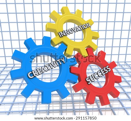 3d render of gears with the words creativity, innovation and success - stock photo