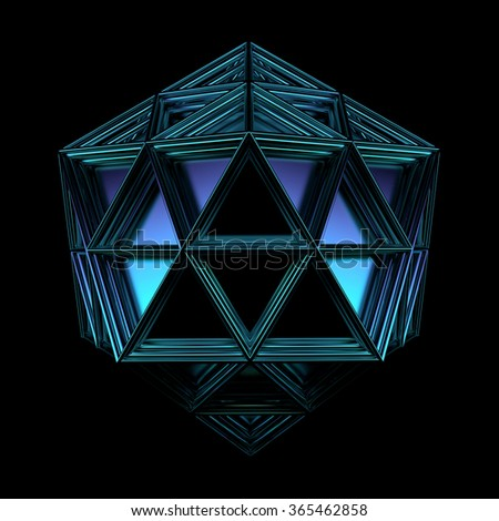 3d render of geometric platonic object. Isolated Futuristic object - stock photo