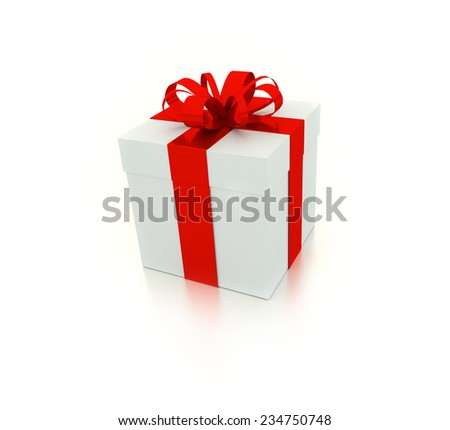 3d render of Gift box with ribbon