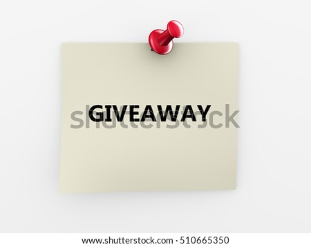 3d render of giveaway note paper and red thumbtack