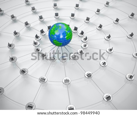 3D render of global computer network. - stock photo