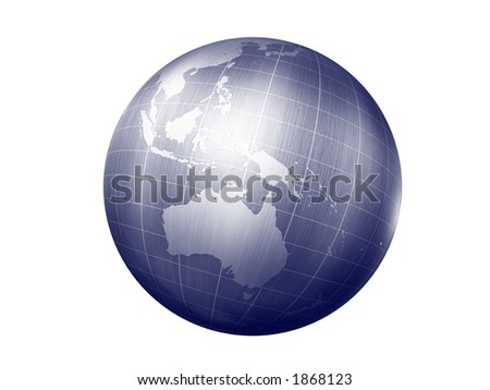 3d render of globe looking on australia continet