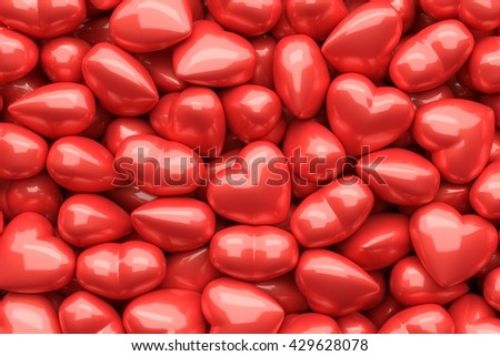 3D render of glossy hearts as background - stock photo