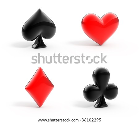 3d render of glossy symbols of playing cards