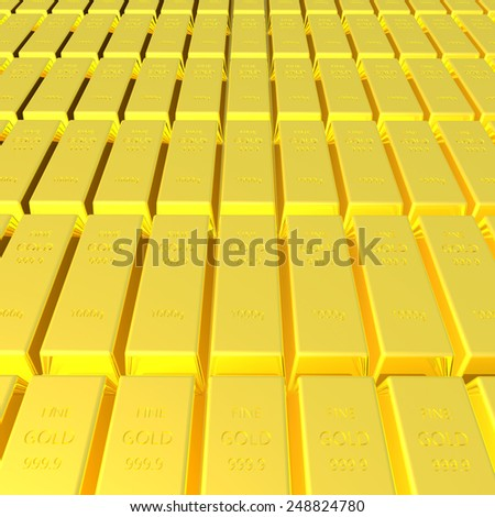 3d render of gold bar background - stock photo